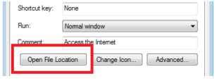 """QB Desktop icon to select the option """"Open File Location"""""""