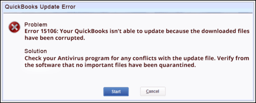 QuickBooks Error 15106 - Your QuickBooks isn't able to update because the downloaded files have been corrupted