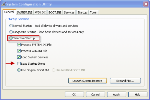 Restart your Windows system in Selective Startup